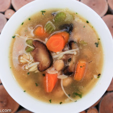 Roasted Mushroom, Chickpea & Orzo Vegetable Soup